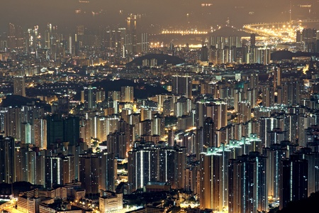 modern city at night, hong kong photo
