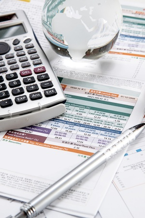 financial world: financial charts and graphs on the table