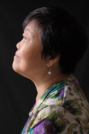 japanese ethnicity: asian woman on black background  Stock Photo
