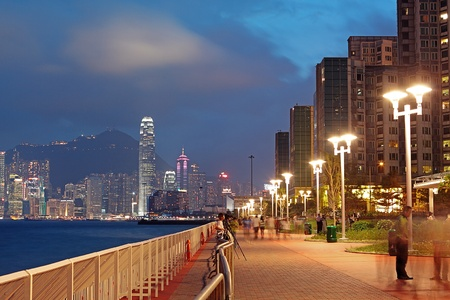 promenade: sunset in hongkong Waterfront Promenade Stock Photo