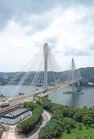 traffic bridge at day in hongkong photo