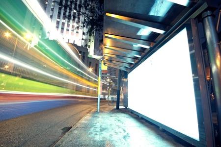display advertising: white display advertising with traffic at night