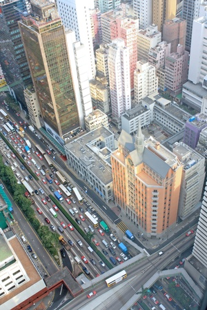 megalopolis: District at Hong Kong, view from skyscraper.  Stock Photo