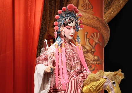 chinese opera: chinese opera dummy and red cloth