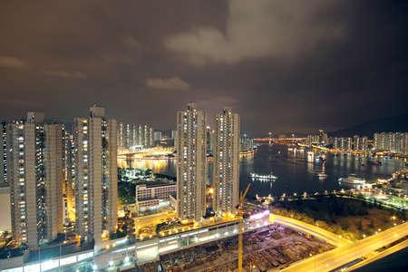 traffic in modern city at night photo
