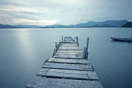 dream lake: old jetty walkway pier the the lake  Stock Photo