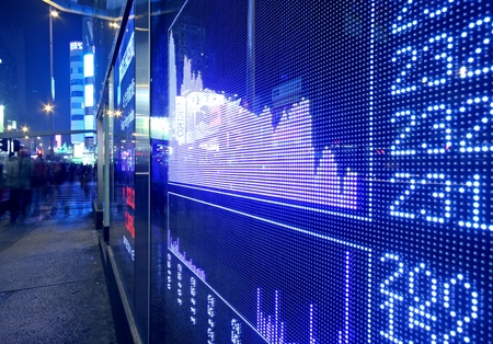 Real time quotes at the stock exchange.  Stock Photo - 10944708