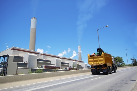 coal fired: coal fired power station and car moving, motion blur