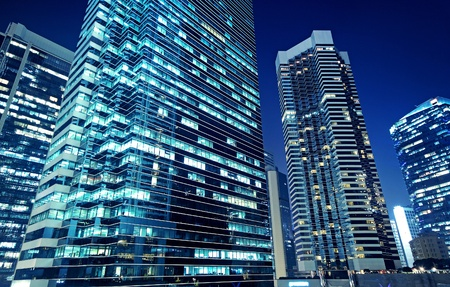 exterior wall: Tall office buildings by night