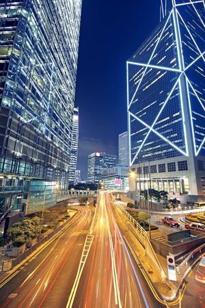 nightscene: High speed traffic and blurred light trails  Stock Photo