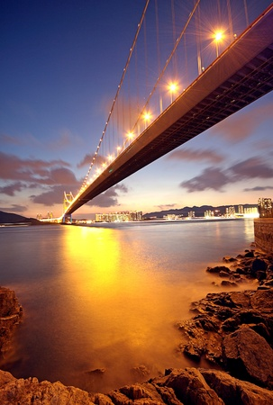 bridge at sunset moment, Tsing ma bridge photo