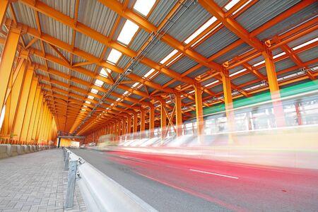 orange steel tunnel photo