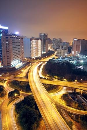 flyover: viaduct ay 's nachts Stockfoto