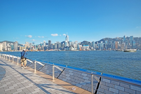 habour: Hong kong day and man take photo