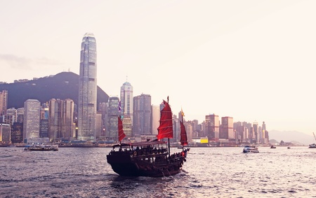 habour: Junk boat in Hong Kong  Stock Photo