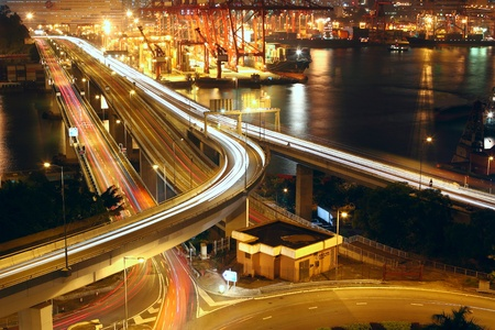 Overpass at night through the port  photo