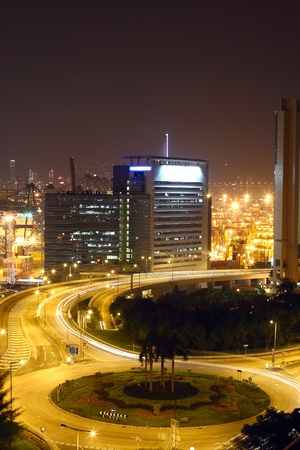 Roundabout in city at night photo