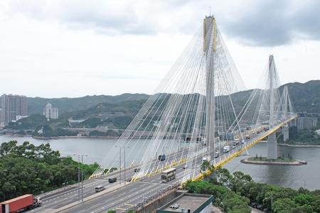 traffic bridge at day in hongkong photo