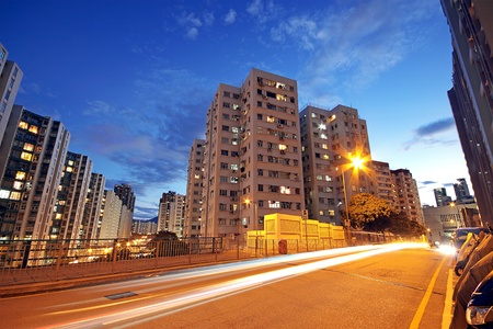 Modern Urban City with Freeway Traffic at Night, hong kong Stock Photo - 11191527