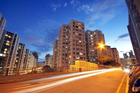 Modern Urban City with Freeway Traffic at Night, hong kong Stock Photo - 11191527