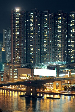 technoligy: Night shot of a city skyline. Stock Photo