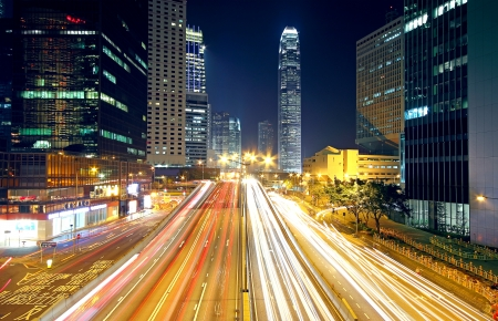 Colorful city night with lights of cars motion blurred in hong kong photo