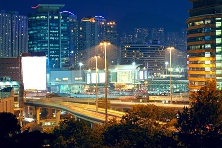 highway through downtown in Hong Kong  photo
