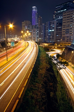 water scape: urban downtown night, hong kong