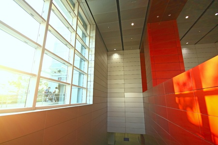 modern building and red metal wall indoor photo