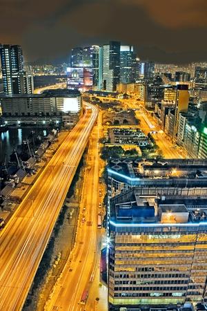 urban downtown night, hong kong photo