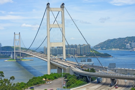 ma: Tsing Ma Bridge, landmark bridge in Hong Kong  Editorial