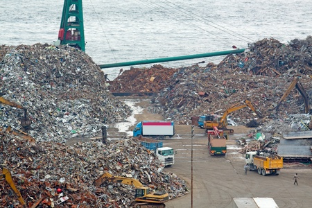 dump yard: scrap yard recycling at day in hong kong