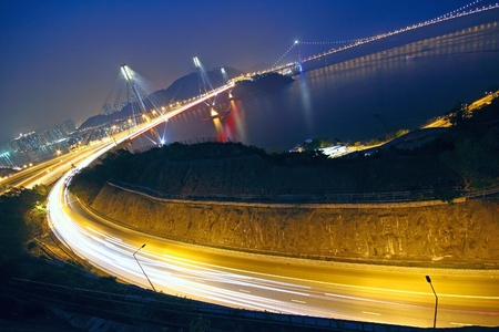 ma: Hong Kong Bridge of transportation at night