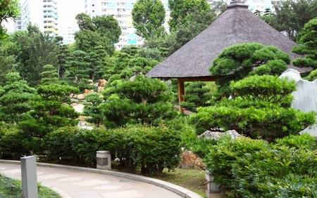 buddhist structures: chinese style park in city Stock Photo