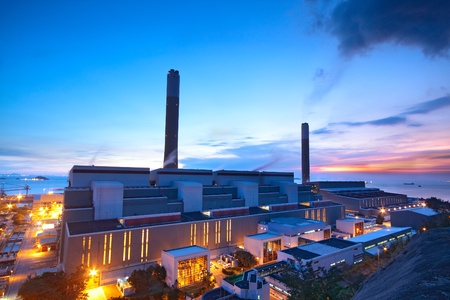 nuclear reactor: coal power station and night blue sky