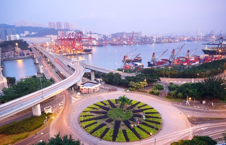 water scape: urban area dusk
