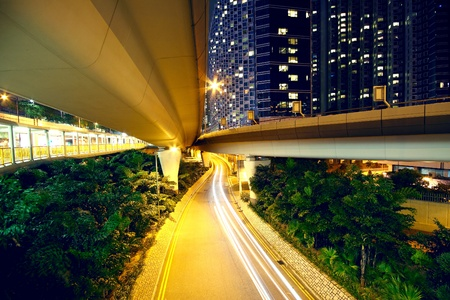 overpass: downtown area and overpass in hong kong