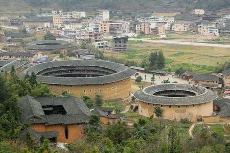 Fujian Tulou in China, Altbau Überblick Lizenzfreie Bilder