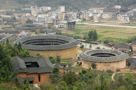 brick earth: Fujian Tulou in China, old building overview