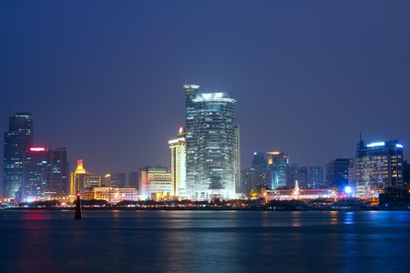 China Xiamen night view from Gulangyu island