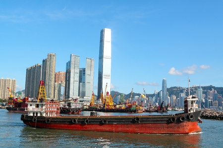 Construction barges in in Victoria Harbor, Hong Kong Stock Photo - 12116785