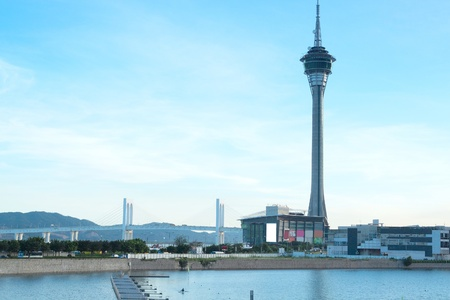 Urban landscape of Macau with famous traveling tower 新聞圖片