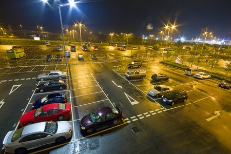 a lot of: car park at night