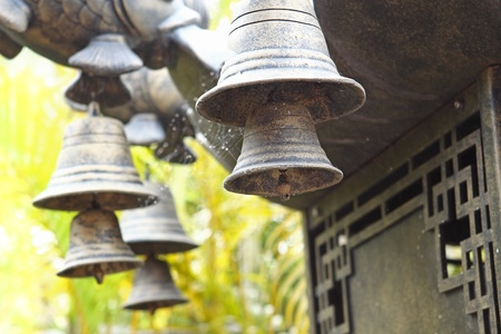 wind chime: Wind chime hanging on a Chinese temple  Stock Photo