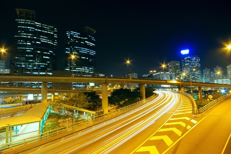 expressway: Highway at night in modern city  Editorial