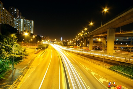 toll: Highway at night in modern city  Editorial