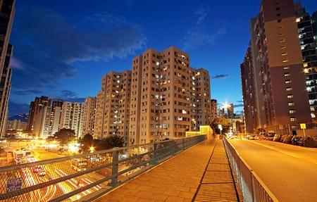 Modern Urban City with Freeway Traffic at Night, hong kong photo