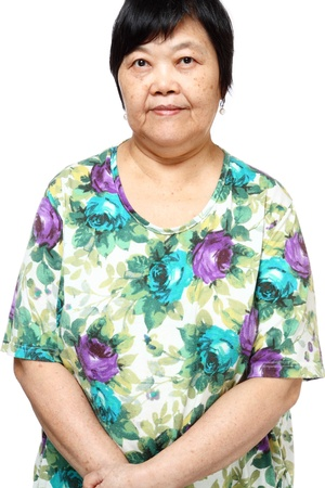 60 years old: asian woman on white background