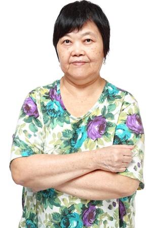 asiatische Frau auf weißem Hintergrund
