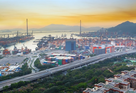 sunset in cargo container terminal Stock Photo - 12735022